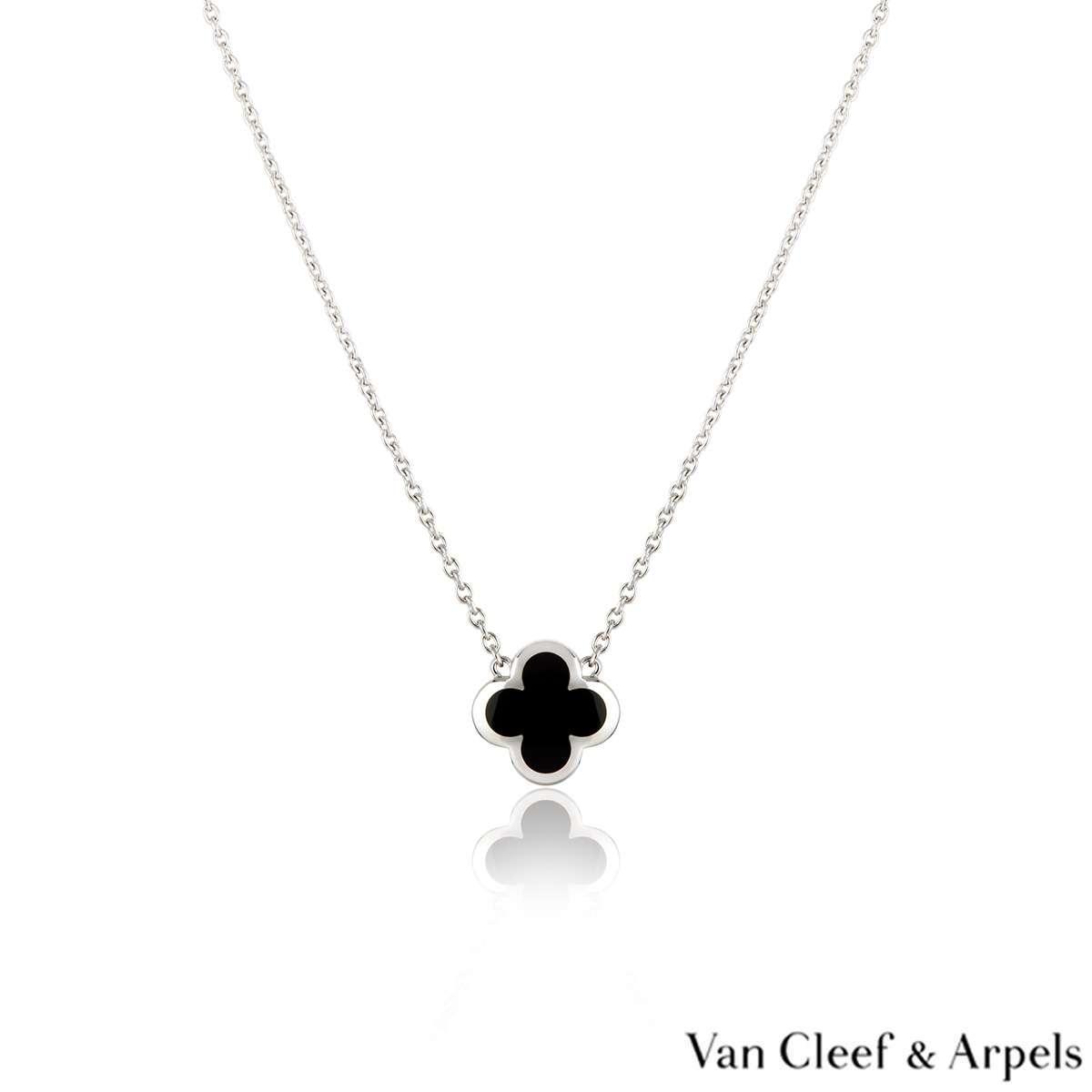 Van Cleef & Arpels White Gold Onyx Pure Alhambra Pendant